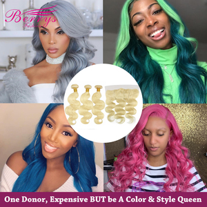 Image 1 - 613 Blonde Hair Brazilian Human Hair Body Wave 3PCS Bundles with Frontal 13x4 Hair wave Remy Hair Extensions Berrys Fashion