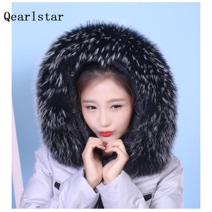 Image 1 - 100% Real Natural Raccoon Fur Collar Hood Trim Winter Women Men Down Coat Fur Scarves Black Scarf Custom Zxx756 Fashion Decor