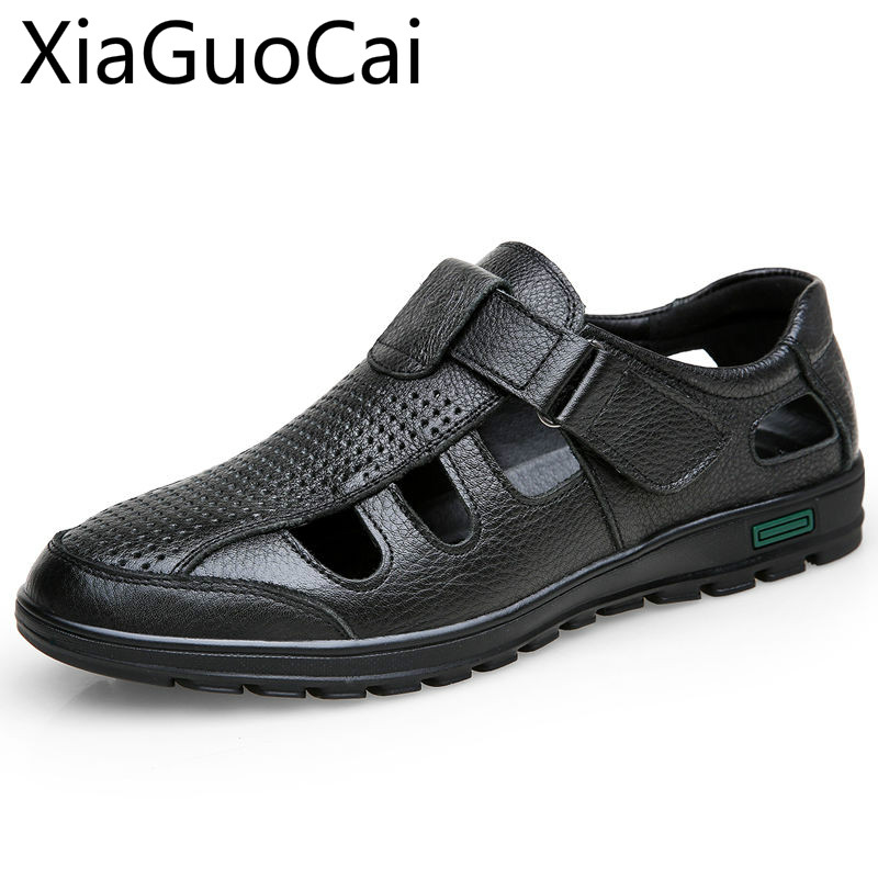 Summer Mens Flat Sandals  2019 New Soft Genuine Leather Male Flat Sandals Business Leisure Daddy Flat Shoes