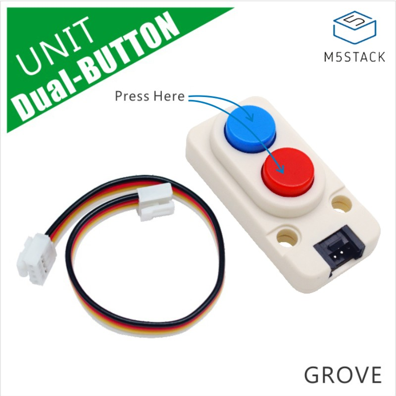 M5Stack Official New Mini Dual Button Unit Mini With GROVE Port Cable Connector Compatible With FIRE/M5GO ESP32 Micropython Kit