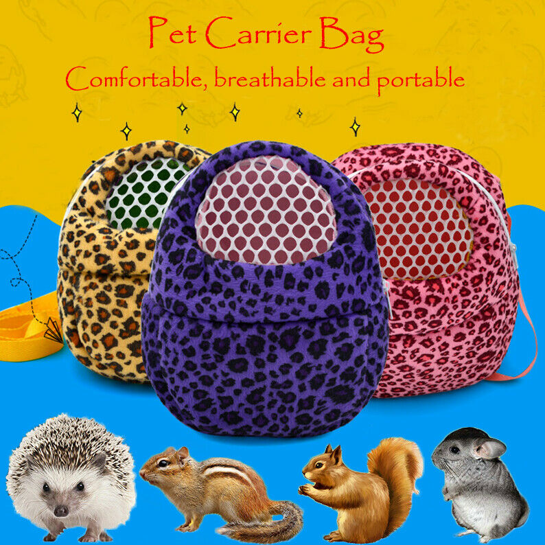 Small Pet Carrier Rabbit Cage Hamster Chinchilla Travel Warm Bags Cages Guinea Pig Carry Pouch Leopard Print Bag Breathable