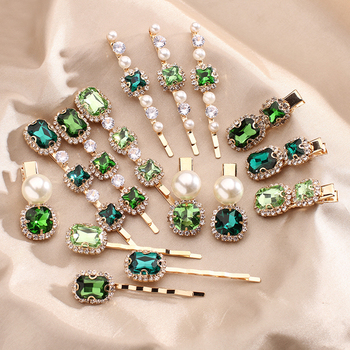 2020 New Vintage Green Rhinestone Hair Clip Imitation Pearl Barrettes Hairgrip Hair Accessories for Women Girls Party Wedding stylish rhinestone faux pearl starfish hairgrip for women