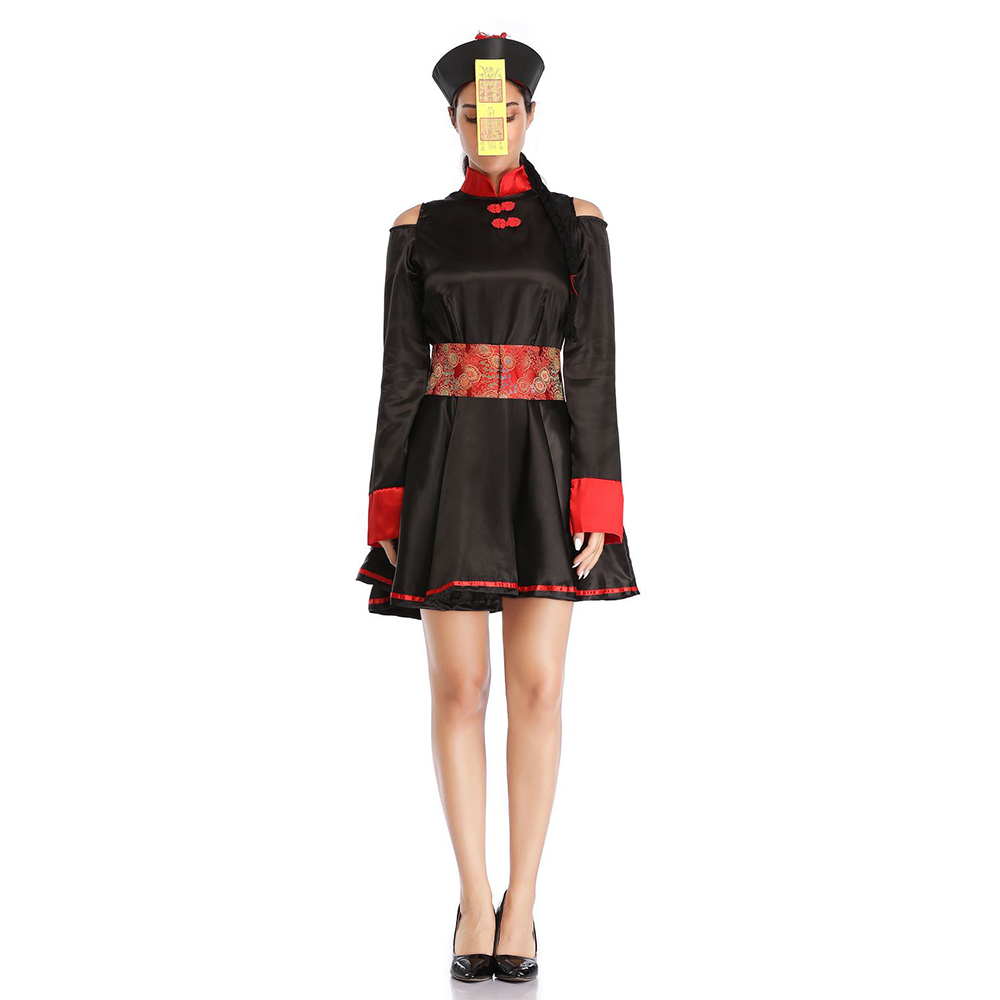 Adult <font><b>Halloween</b></font> Scary Zombie Costume <font><b>Women</b></font> <font><b>Sexy</b></font> Scary Chinese Zombie Fancy <font><b>Dress</b></font> <font><b>Halloween</b></font> Party Cosplay Spooky Splatter Costume image
