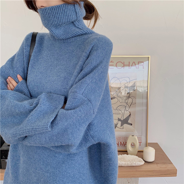 Ailegogo Autumn Winter Women Turtleneck Long Sweater Casual Female Knitted Loose Fit Pullovers Thick Warm Knitwear Ladies Tops 3
