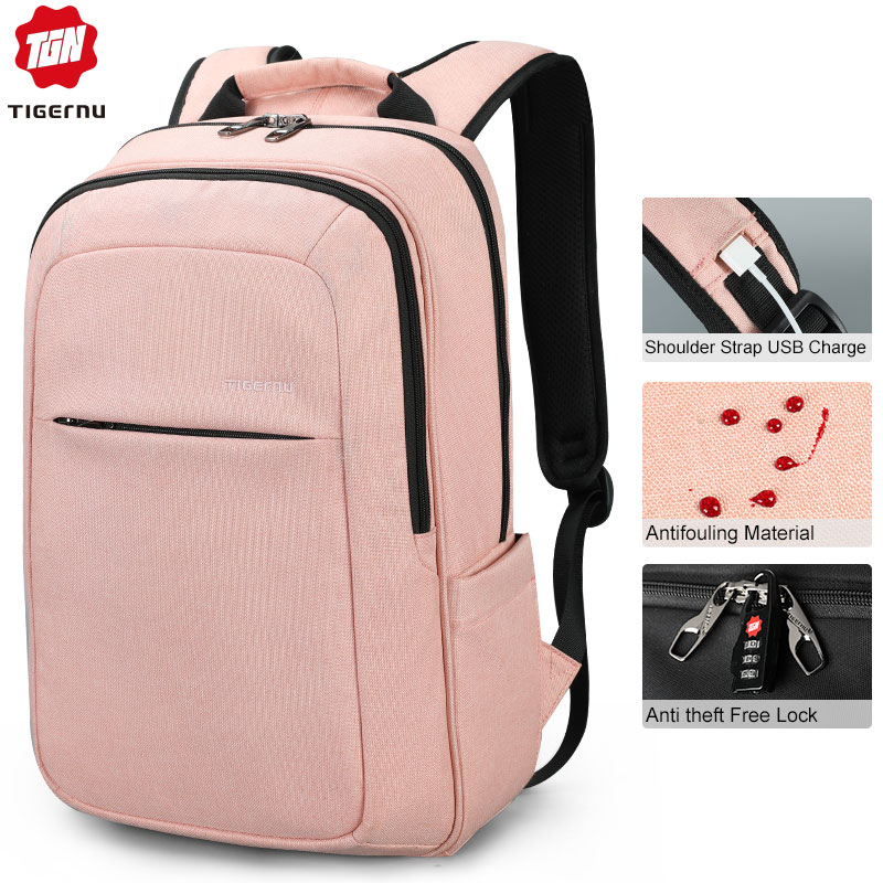 Tigernu Women Fashion 15.6inch USB Recharging Men Backpacks Anti Theft Girl Mochila Rucksack Laptop Backpack Schoolbag For Teens
