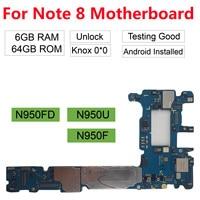 BINYEAE Original unlocked For Samsung Galaxy Note 8 N950F N950F/DS(N950FD ) 64GB 128GB Motherboard for Galaxy Note 8 Mainboard