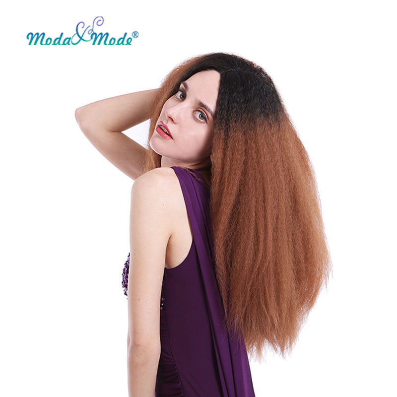 Moda&Mode Kinky Straight Wig Dark Root Synthetic Lace Front Wig  Ombre Full Wig for Black Women Middle Part