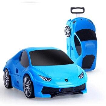 New Car Suitcase Kids Luggage Trolley School Bag Sports Racing Car Toy Travel Luggage Children Kids Rolling Luggage School Bags фото