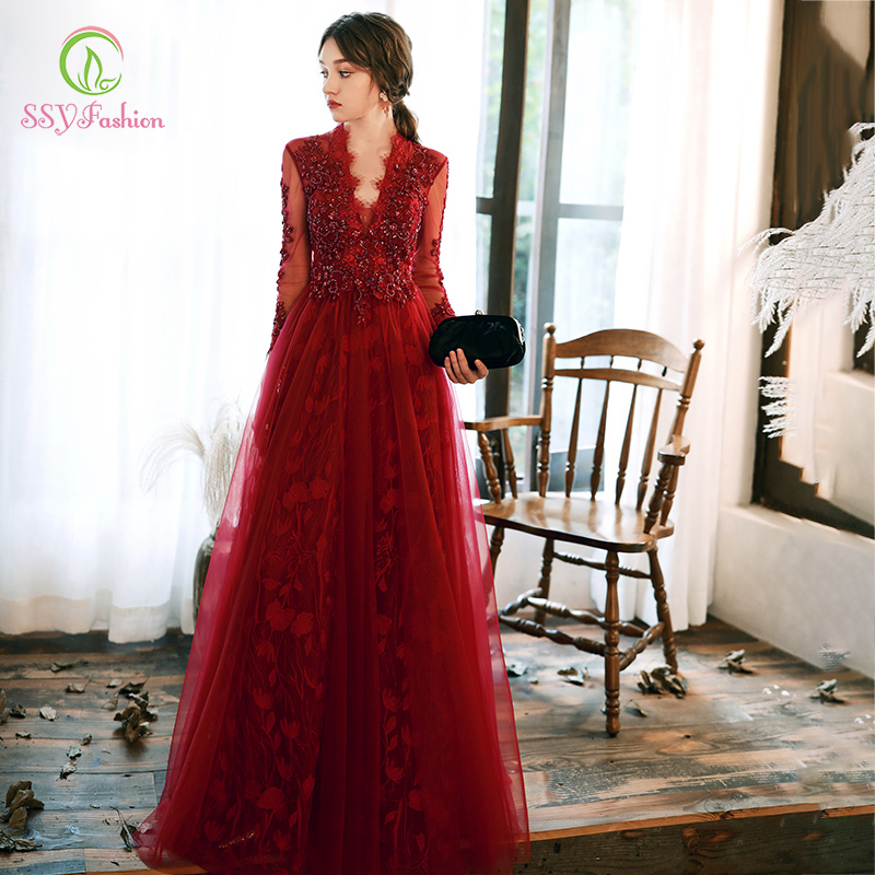 SSYFashion Banquet Elegant Wine Red Long Sleeve Evening Dress Lace Appliques V-neck Luxury Formal Gown Vestido De Noche