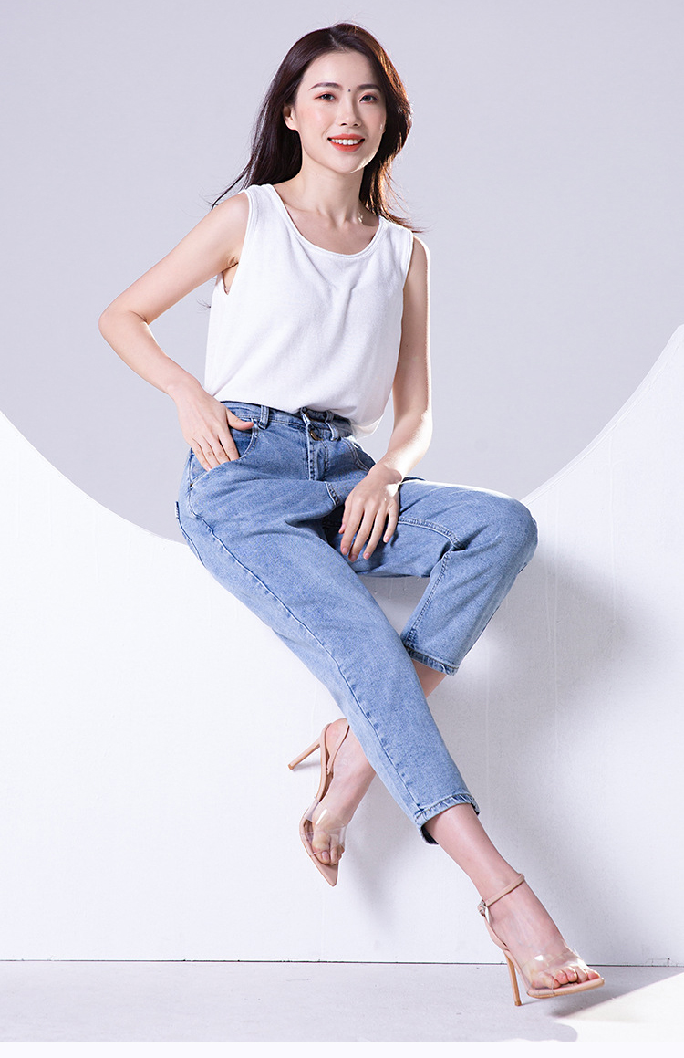 KSTUN FERZIGE high waist jeans women cotton mom jeans cropped Pants loose fit light blue double bottons boyfriend jeans for women 12