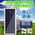 Солнечная панель 30 Вт 12 В с двойным выходом USB  поли солнечная панель 10/20/30/40/50A  контроллер для аккумулятора автомобиля  яхты  лодки  зарядное ...