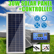 30W 12V פנל סולארי USB הכפול פלט תאים סולריים פולי פנל סולארי 10/20/30/ 40/50A בקר עבור רכב יאכטה סוללה סירת מטען