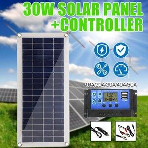 Image 1 - Panel Solar de 30W y 12V células solares de salida USB Dual, Panel Solar de polímero, controlador de 10/20/30/40/50A para cargador de bote de coche y Yate