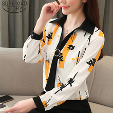 Elegant Loose Women Tops and Blouse Fashion Plus Size Tops 2020 Spring Long Sleeve Print Office