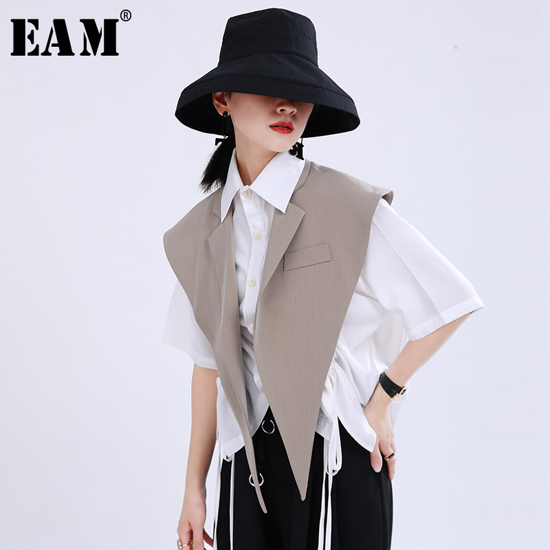 [EAM] Women Loose Fit Khaki Black Brief Irregular Split Joint Vest New Lapel Sleeveless   Fashion Tide Spring Summer 2020 1U527