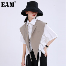 Split-Joint-Vest Spring Black EAM Women Summer Sleeveless Loose Khaki Fashion New Fit