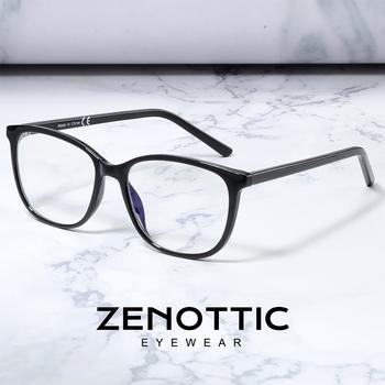 ZENOTTIC okulary ramki okularów kobiety mężczyźni plastikowe kwadratowe krótkowzroczność optyczne czyste soczewki do okularów okulary korekcyjne ramki tanie i dobre opinie Unisex Z tworzywa sztucznego CN (pochodzenie) Stałe 420008B Purple Crystal Demi Black Plastic