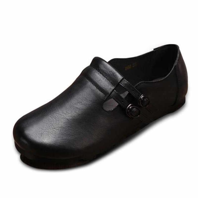 Новинка обувь ручной работы из натуральной кожи женская на плоской подошве с