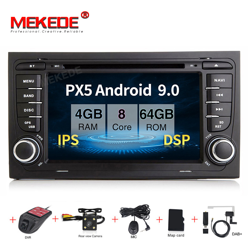 MEKEDE Car Multimedia Player Car Radio 2 Din GPS Android 9.0 Stereo System For Audi/A4/S4 2002-2008 IPS screen DSP radio FM