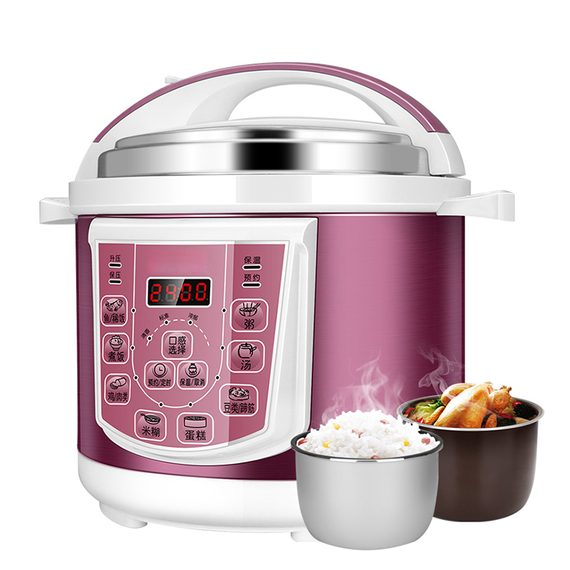 DMWD 220V 5L Electric Pressure Cooker and Rice Cooker Pot with Removable Exhaust Valve