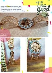 Image 5 - Мусульманский мусульманский свадебный подарок Ближний Восток ювелирные браслеты Арабский Браслет Аллах Винтажный Золотой цветок широкий браслет на запястье
