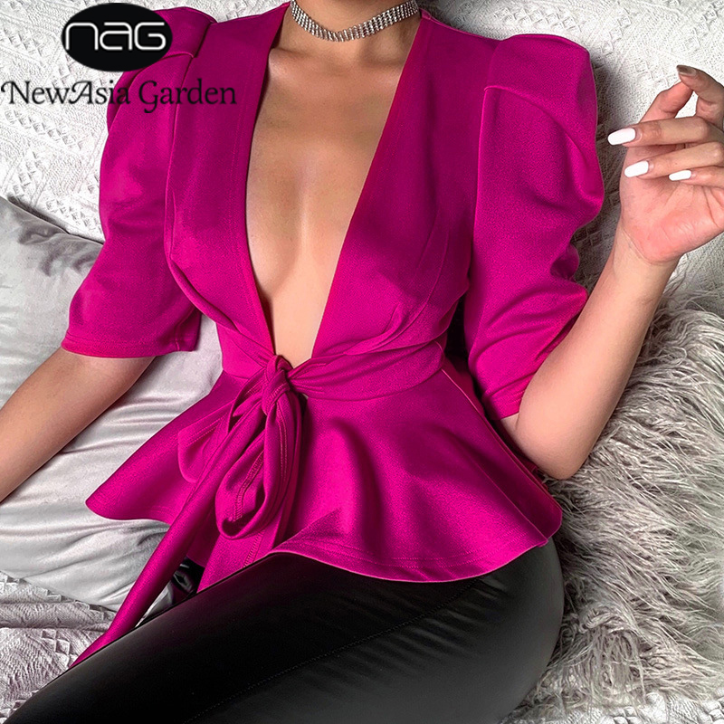 NewAsia Garden Cardigan Office Blouse Ruffle Top Deep V Neck Lace Up Bow Hot Pink Blouse Solid Color Womens Tops And Blouses