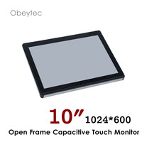 Obeytec 10 inch touch screen monitor with PCAP capacitive touch screen, 1024*600, VGA DVI HDMI interface 200cd/m2 OB OPM 101