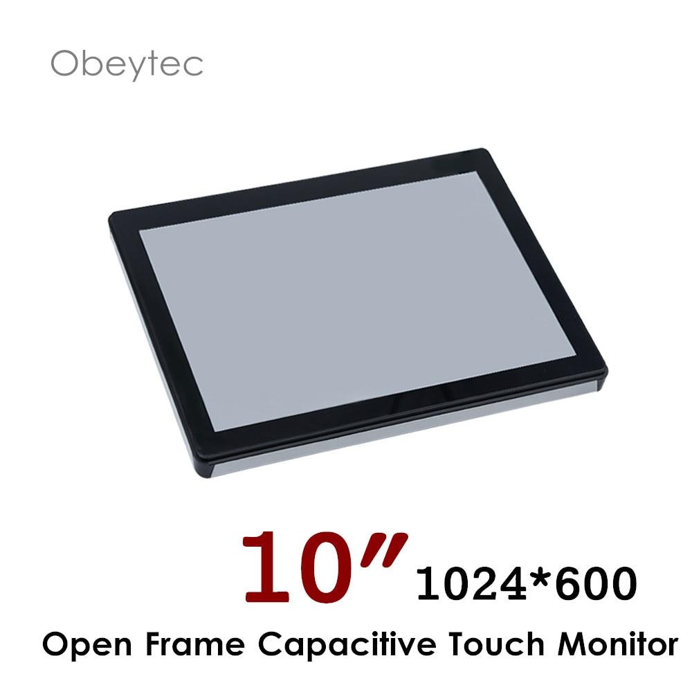 Obeytec monitor de pantalla táctil de 10 pulgadas con pantalla táctil capacitiva PCAP, 1024*600, interfaz VGA DVI HDMI 200cd/m2 OB-OPM-101