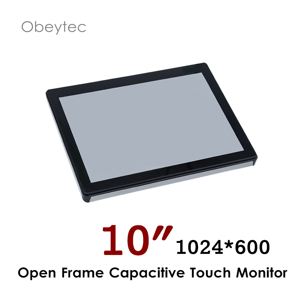Obeytec <font><b>10</b></font> inch <font><b>touch</b></font> <font><b>screen</b></font> <font><b>monitor</b></font> with PCAP capacitive <font><b>touch</b></font> <font><b>screen</b></font>, 1024*600, VGA DVI <font><b>HDMI</b></font> interface 200cd/m2 OB-OPM-101 image