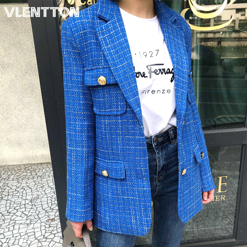 2020 Spring Autumn Women Vintage Plaid Tweed Blazers Jackets Chic Metal Button Office Suit Coats Female Solid Outwear Tops Mujer