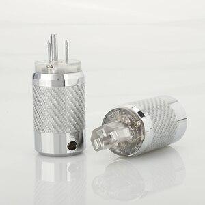 Image 4 - ПАРА углеродного волокна родиевое покрытие DIY AC Power Электрический штекер гнездовой разъем IEC EU US вилка