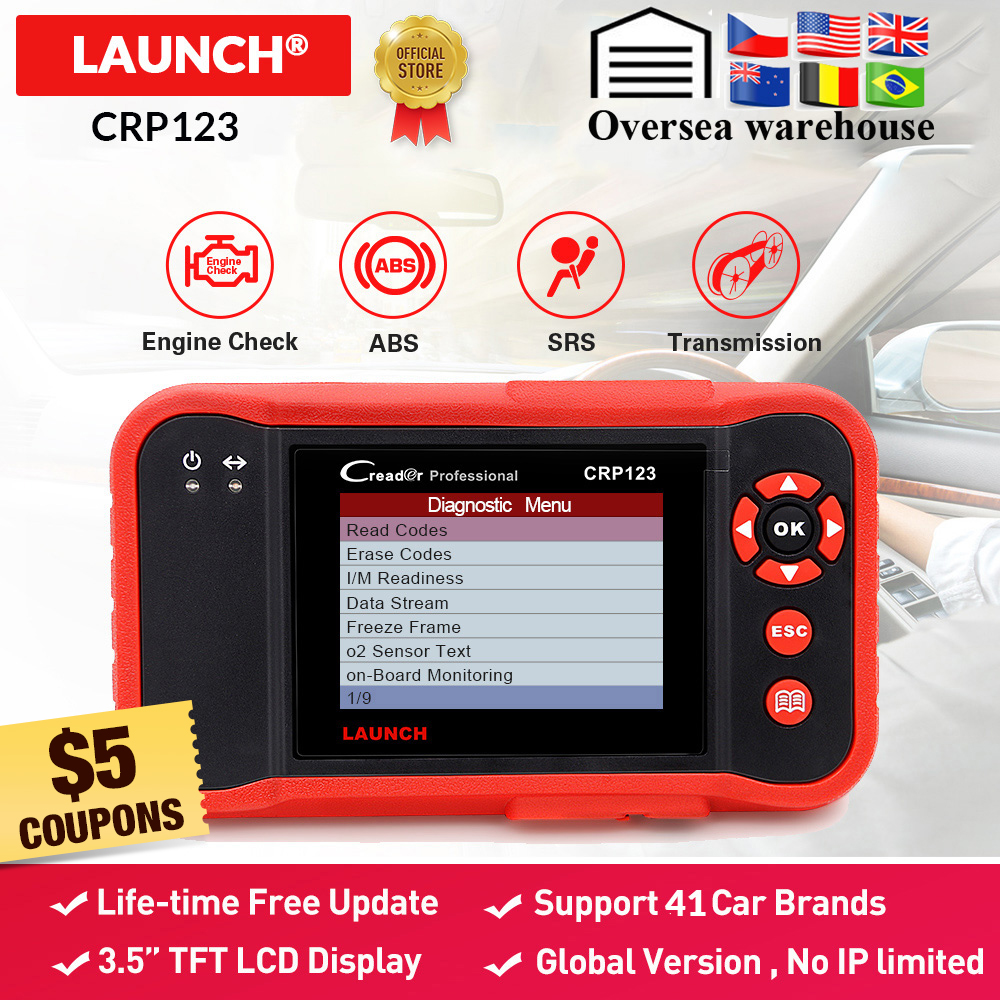 LAUNCH X431 CRP123 OBD2 EOBD Automotive ScannerABS Airbag SRS Transmission Engine Car Diagnostic Tool Multilingual Free Update