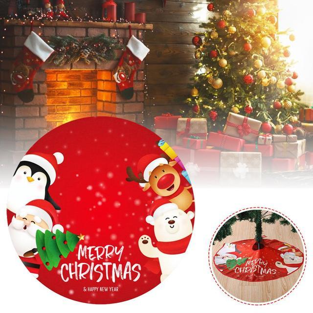 90cm Santa Claus Christmas Tree Decor White Christmas Tree Skirt Fur Skirt for Xmas Decorations Christmas Xmas Tree Decor 1