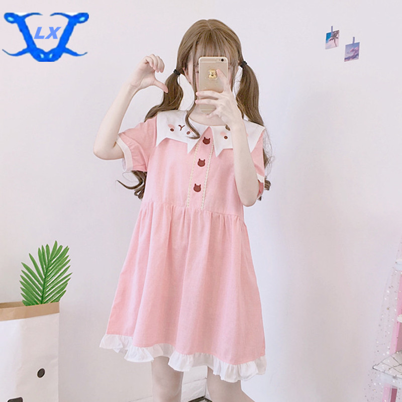 Sweet Women's Lovely Baggy Summer Dress Cute Cat Dress, Loose Sailor Colar Dress Preppy Style Clothes