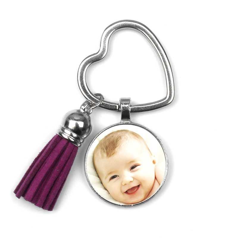 Custom พวงกุญแจคู่ด้านพู่ส่วนบุคคล Photo เด็กทารกแม่พ่อปู่ย่าตายายรักของขวัญครอบครัวของขวัญ