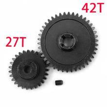 Engrenage principal de Diff en métal 42T + engrenage de moteur 27T pour 1/18 WLtoys A959-B A969-B A979-B pièces de mise à niveau de voiture de RC de K929-B