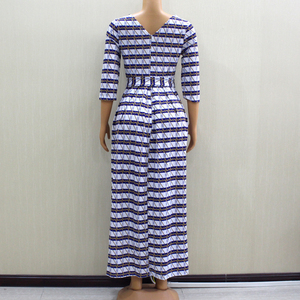 Image 2 - 2020 ファッションデザイン新着アフリカ Dashiki スリムでエレガントなカジュアルブルーレディースロングパーティーファッション女性ドレス