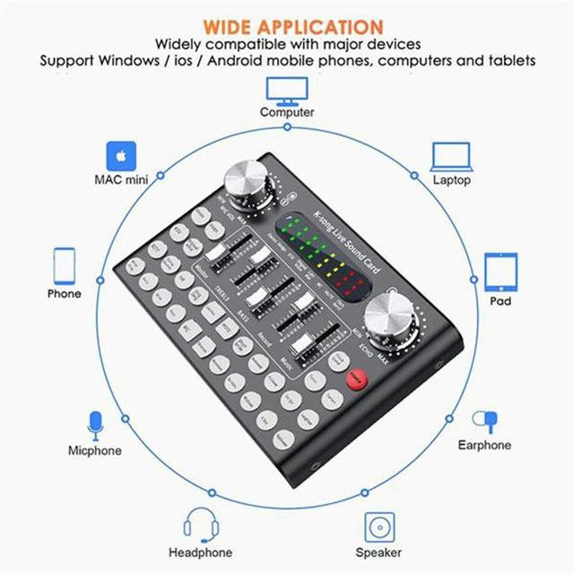F007 Phone Voice Music Professional Audio USB Headset Microphone Entertainment Webcast Live Sound Card Singing K-song