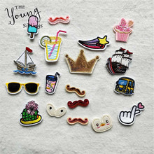 20 kinds for choose Mixture Hot melt adhesive Iron On Patches Cute Cartoon Car Eyes badge Clothes DIY Motif Applique Sticker