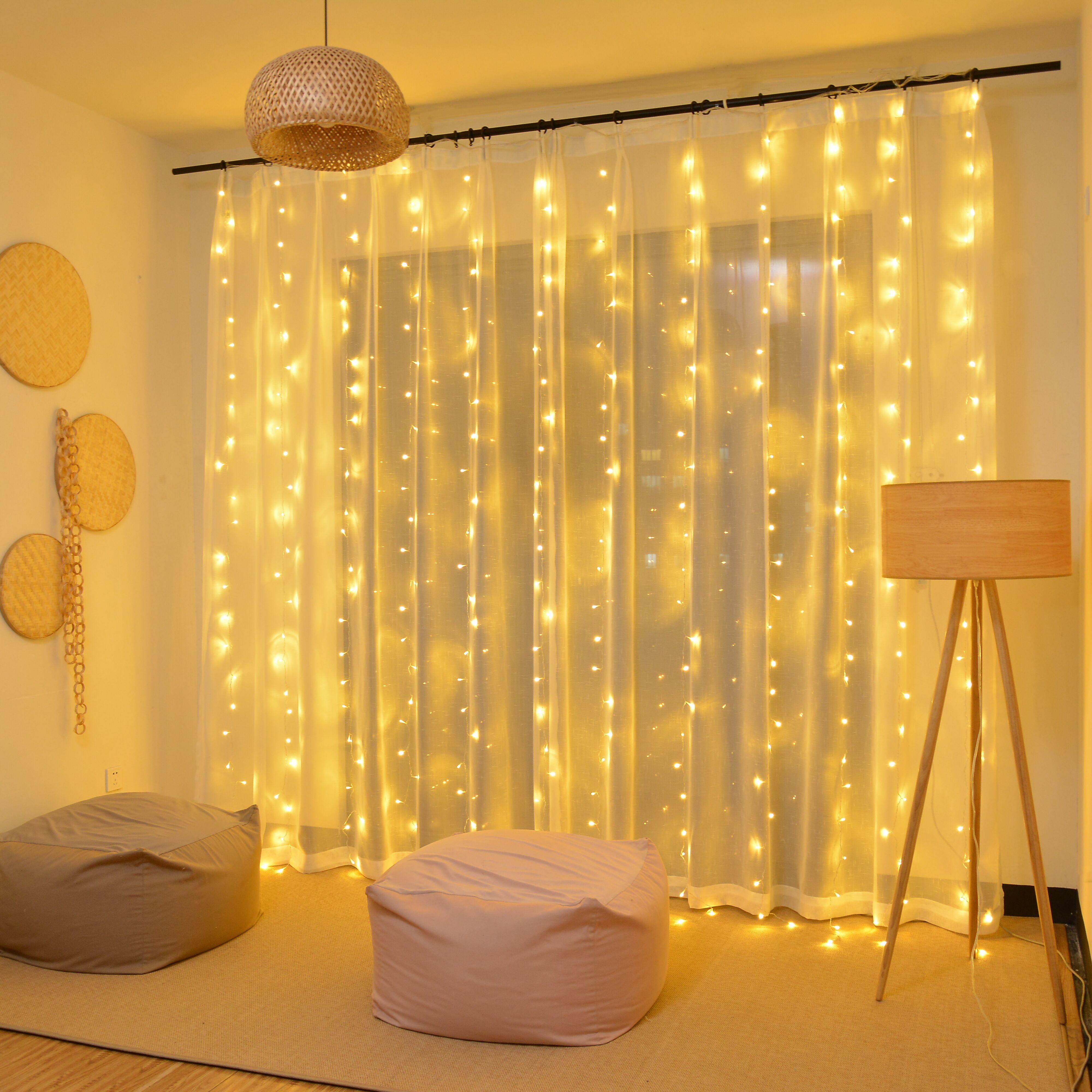 3m 2m led cortina usb luzes da corda de controle remoto de fadas guirlanda na janela ano novo decorações de natal para casa ao ar livre