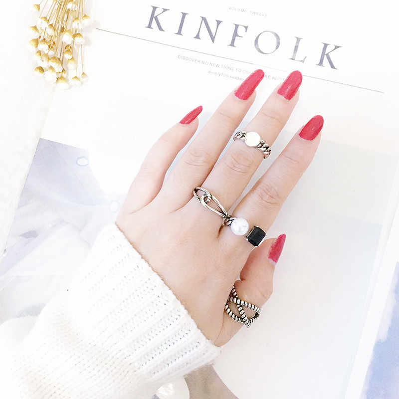 רטרו טוויסט שחור קנבוס חבל תאילנדי כסף מתכוונן טבעת 925 סטרלינג כסף פאנק תכשיטי עבור גברים נשים סיטונאי S-R357