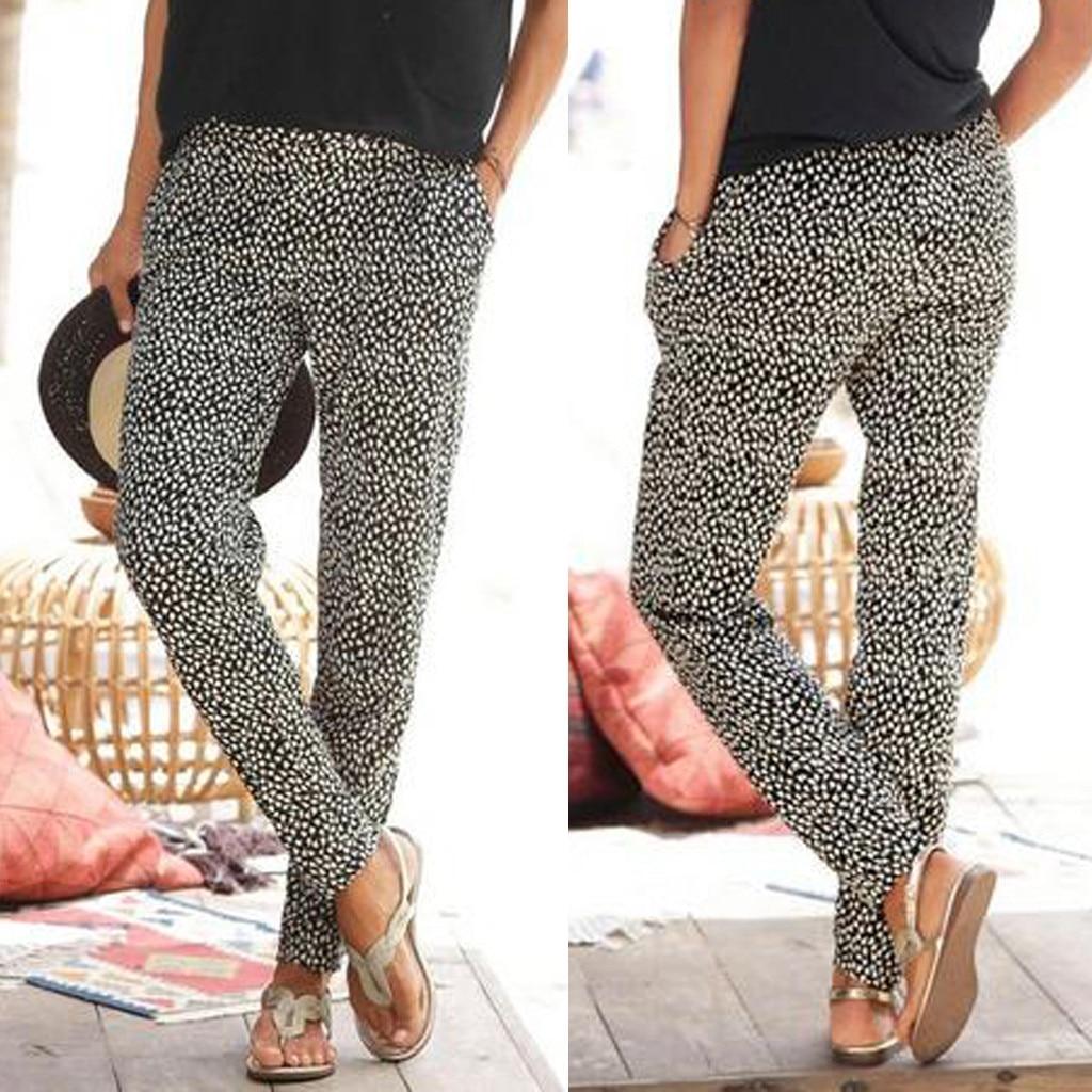 Clothing - Women Striped Boho Casual Flower High Waist Trousers