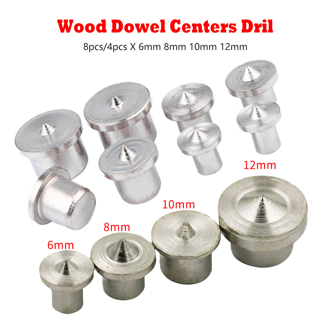 8pcs/4pcs Dowel Pins Center Point Drill 6mm 8mm10mm 12mm Woodworking Dowel Tenon Center Drill For Woodworking Solid