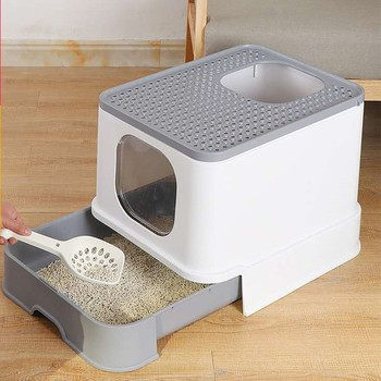 Cat Litter Box Top Entry Cat Sandbox Large Capacity Toilet Tray Anti-Splash Drawer Toilet Cats Bedding Training Litter Box