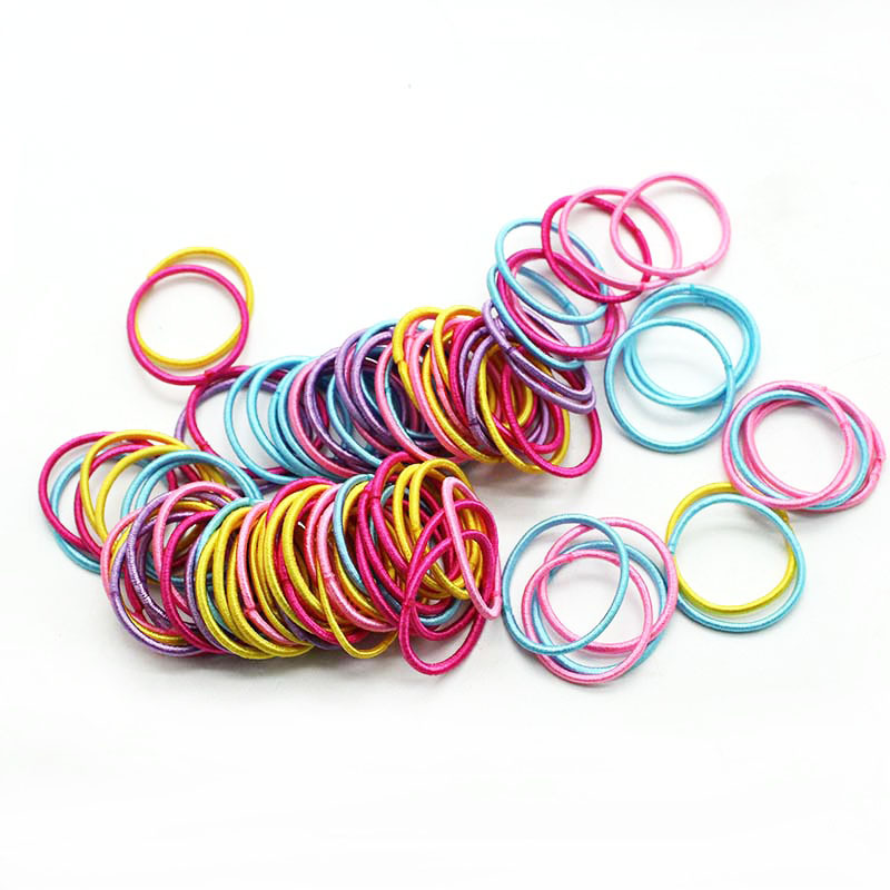 100PCS/Bag New Girls Colorful Basic Elastic Hair Bands Ponytail Holder Scrunchies Kids Hair Ropes Rubber Bands Hair Accessories