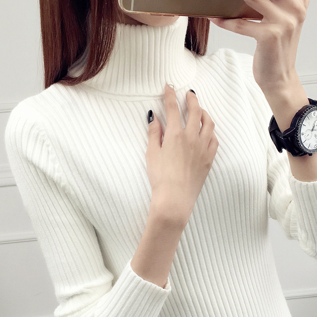 Jumper Full Sweater Real New Autumn And Winter Style 2020 Short style Jacket With Inner Lap Thicker Long sleeved Knitted Bottom