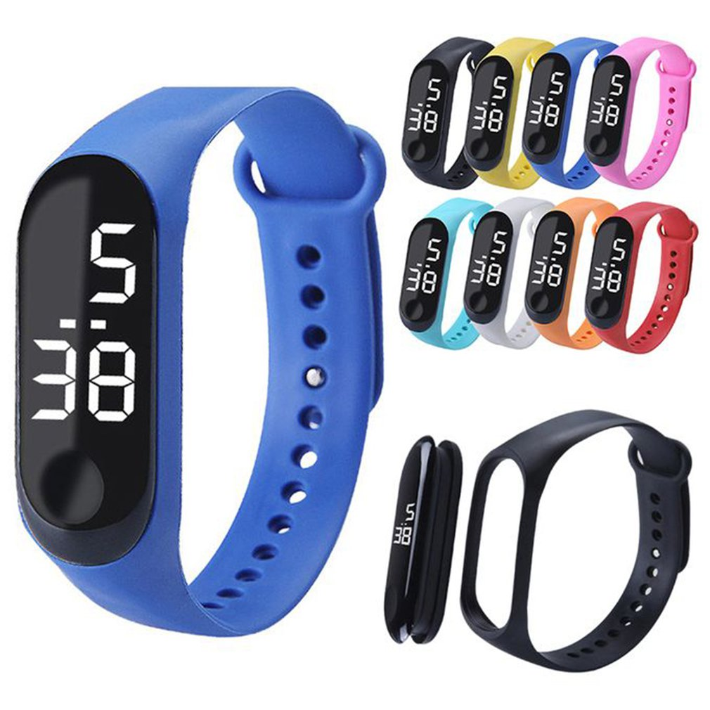 LED Electronic Digital Bracelet Watches Casual Sports Watch Candy Color Silicone Couples Wrist Watch Children Gifts