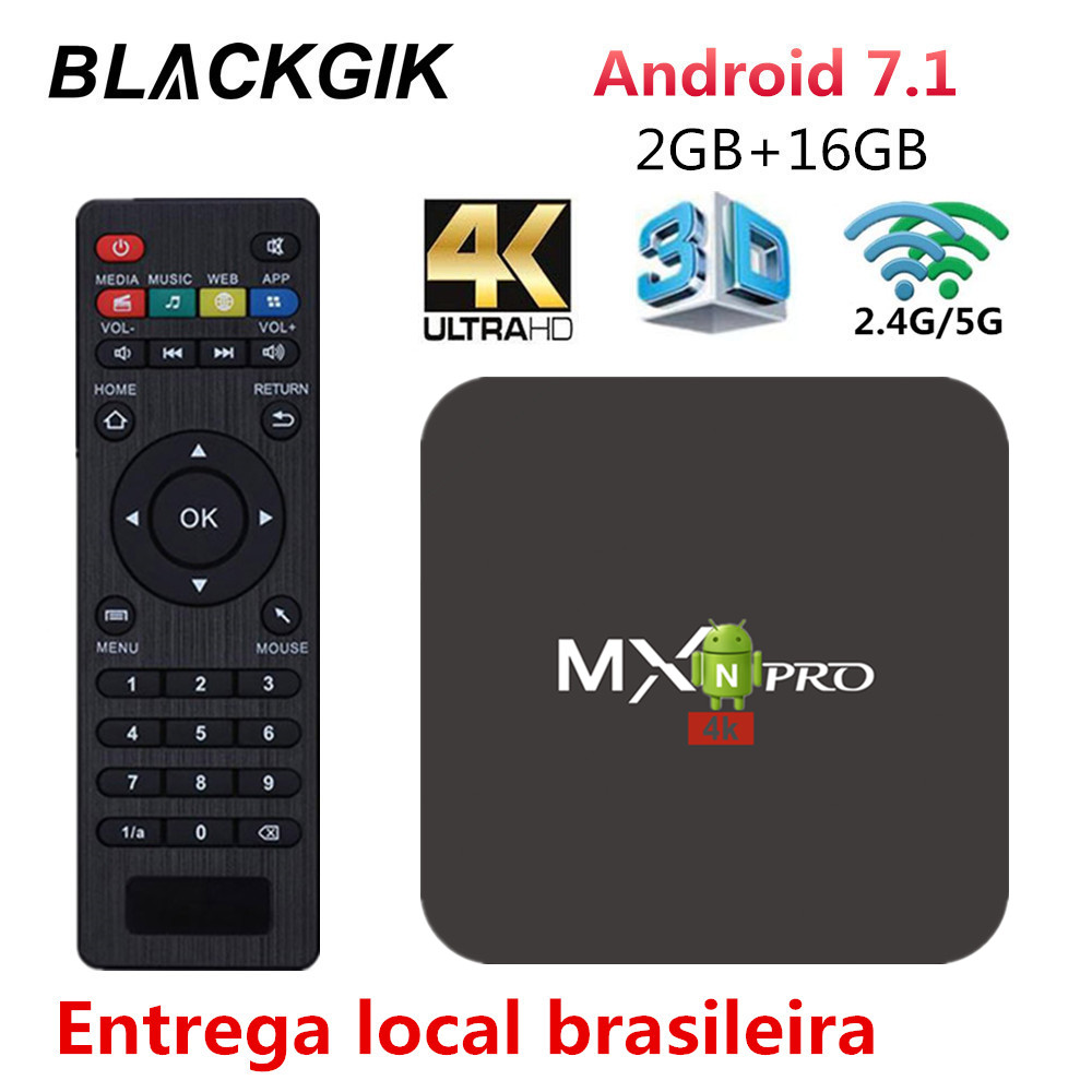 MX Pro Android TV BOX 4K H.265 IPTV Android 7.1 Smart Top TV RK3229 Quad Core <font><b>2GB</b></font> 16GB WiFi Media Player with MX3 Control image