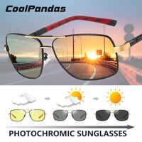 Marca polarizada photochromic óculos de sol dia visão noturna dupla olhos proteger óculos de sol unissex condução óculos sol