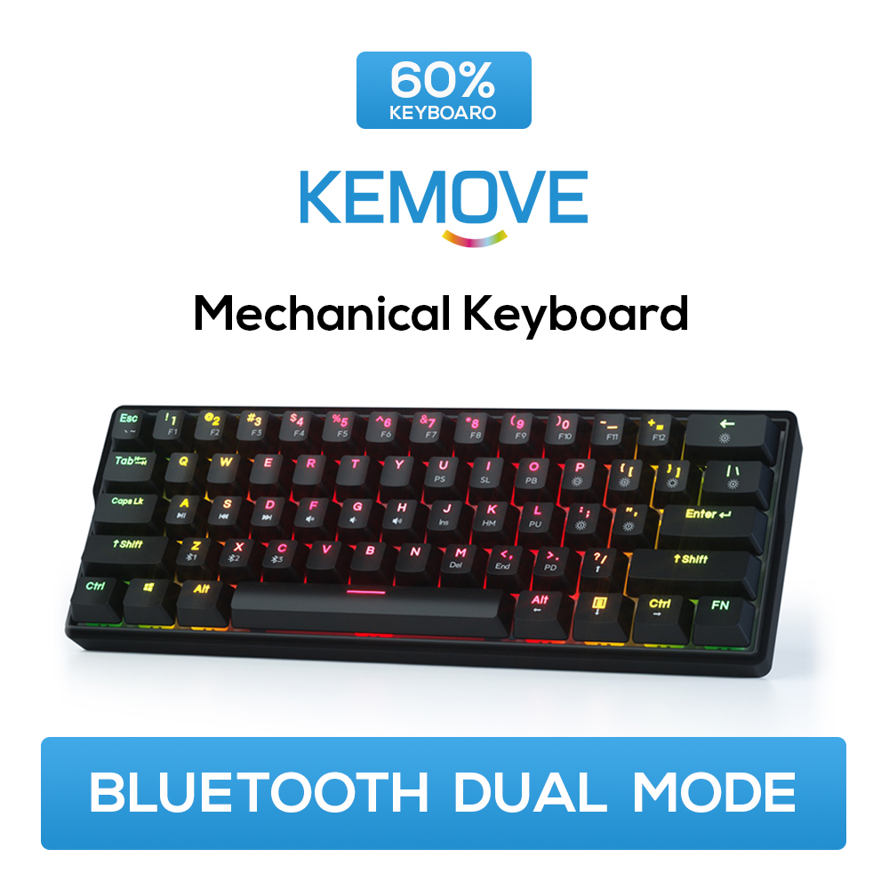 KEMOVE Mechanical Keyboard RGB Gaming Keyboards Backlight PBT Keycap 5.1 Bluetooth USB Hot Swap 61 Key